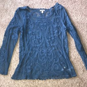 Sheer lace blue blouse